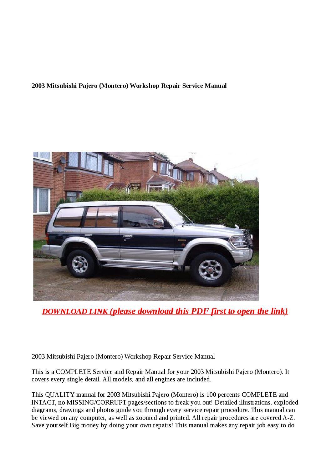 2003 Mitsubishi Pajero  Montero  Workshop Repair Service Manual By Steve