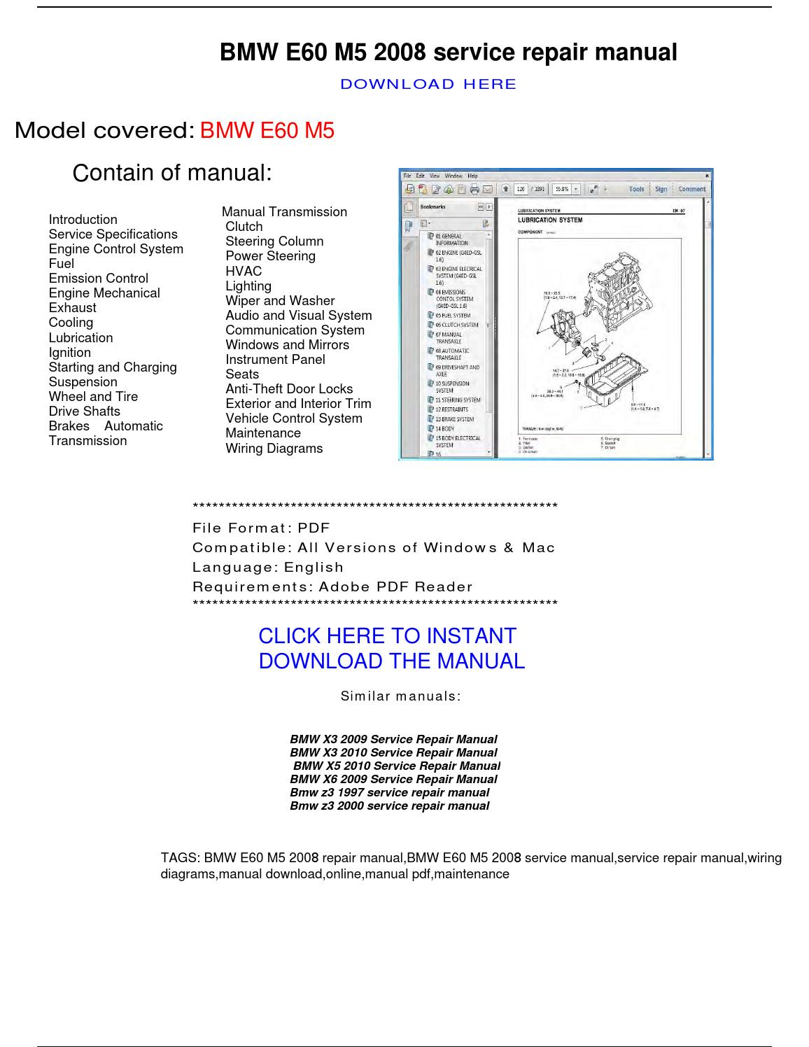 Bmw E60 M5 2008 Repair Manual By Repairmanuals