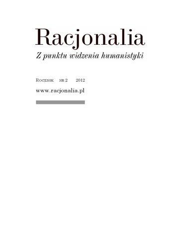 Racjonalia Z Punktu Widzenia Humanistyki Nr 22012 By