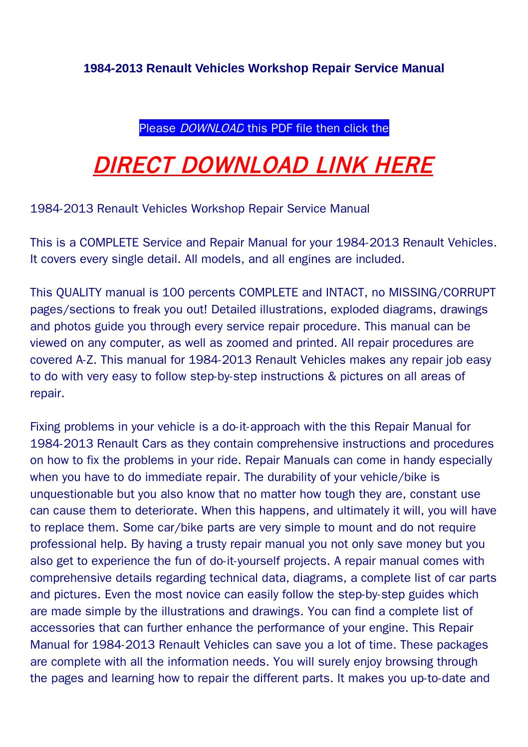 1984 2013 renault vehicles workshop repair service manual by  wsds@qualityservicemanual.com - issuu