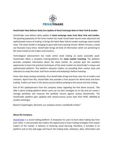 VestaTrader Now Delivers Daily Live Update of Stock Exchange