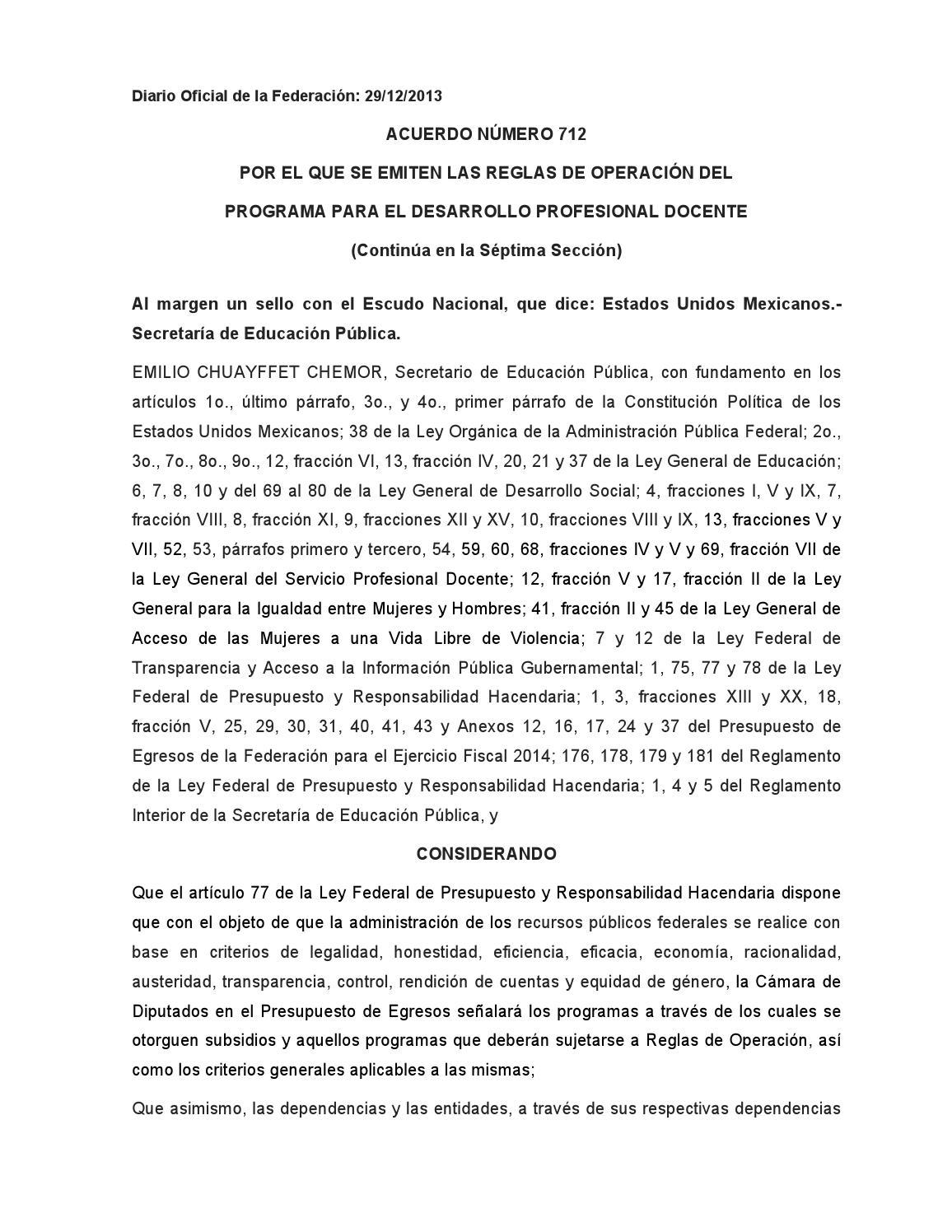 Acuerdo 712programadesarrolloprofesionaldocentedo By Norberto Cota  # Cota Muebles Teziutlan Puebla
