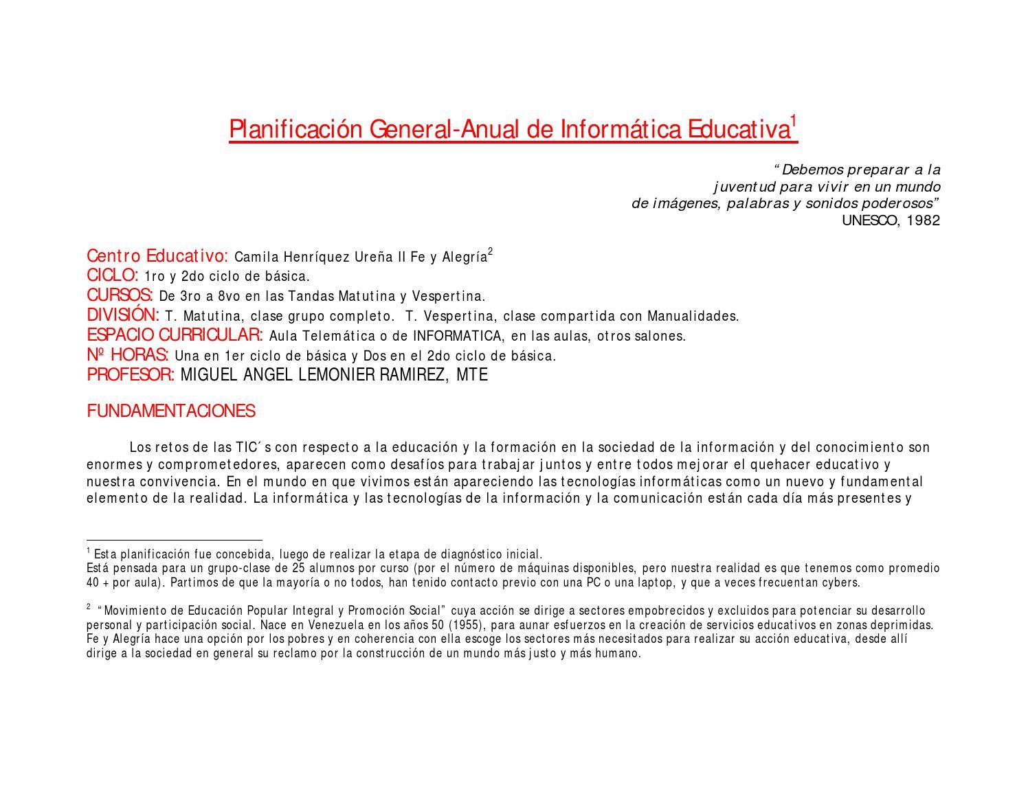 Planificacion General Expectativas de logros criterios informática  educativa by Miguel Lemonier - issuu d6eedf6a13f9