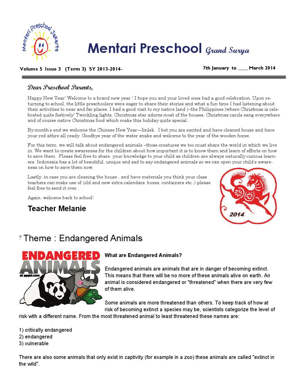 2013 2014 preschool newsletter term3 by Mentari Grand