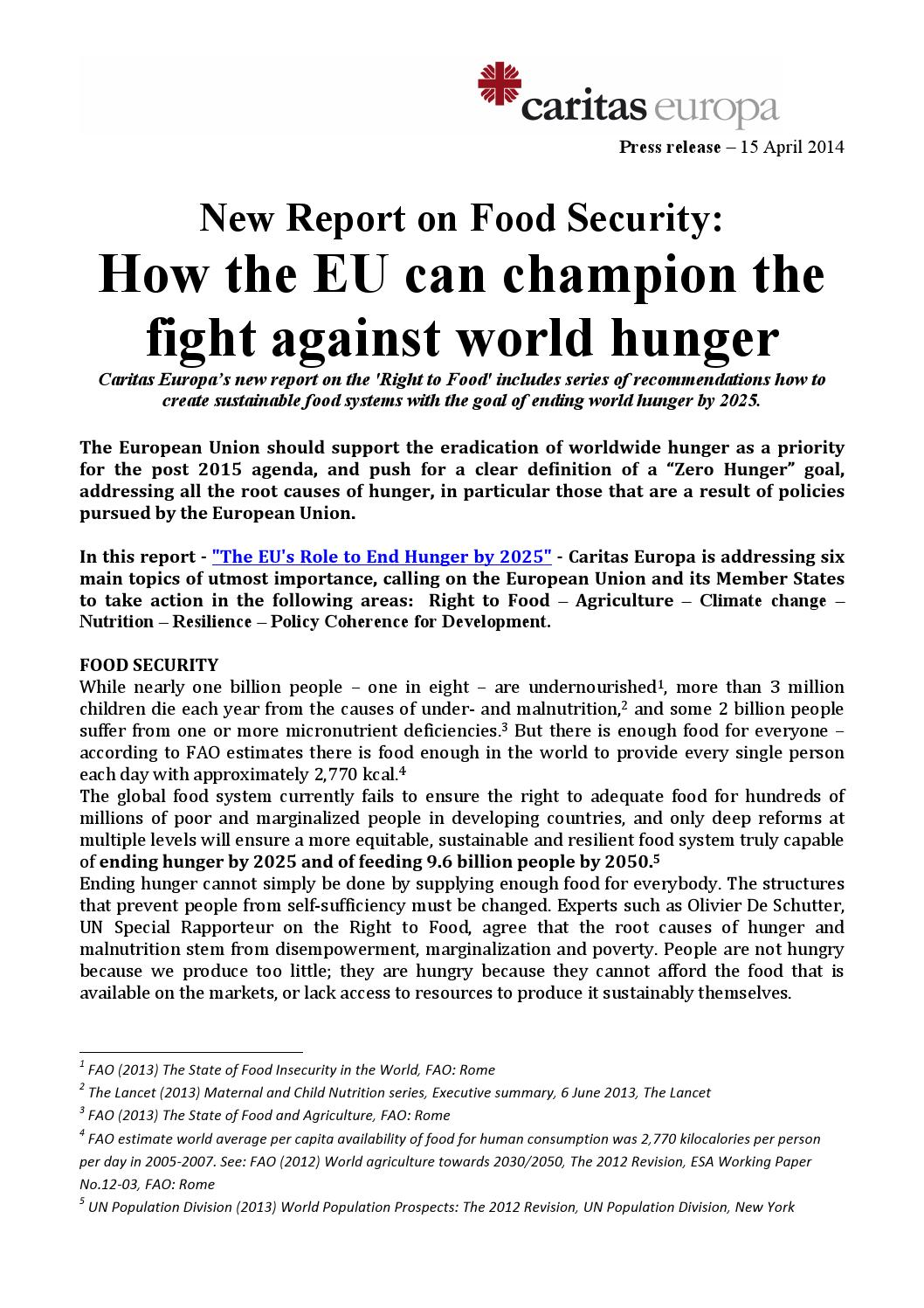 caritas europa press release food security report 15 april 2014 by
