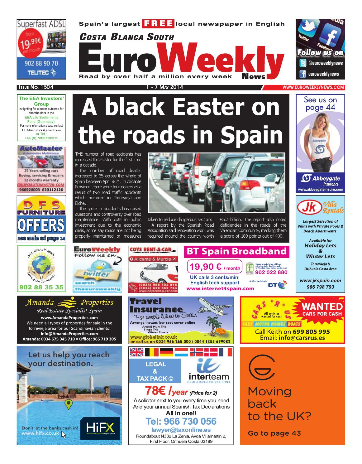 fa199e3d525 Euro Weekly News - Costa Blanca South 1 - 7 May 2014 Issue 1504 by Euro  Weekly News Media S.A. - issuu