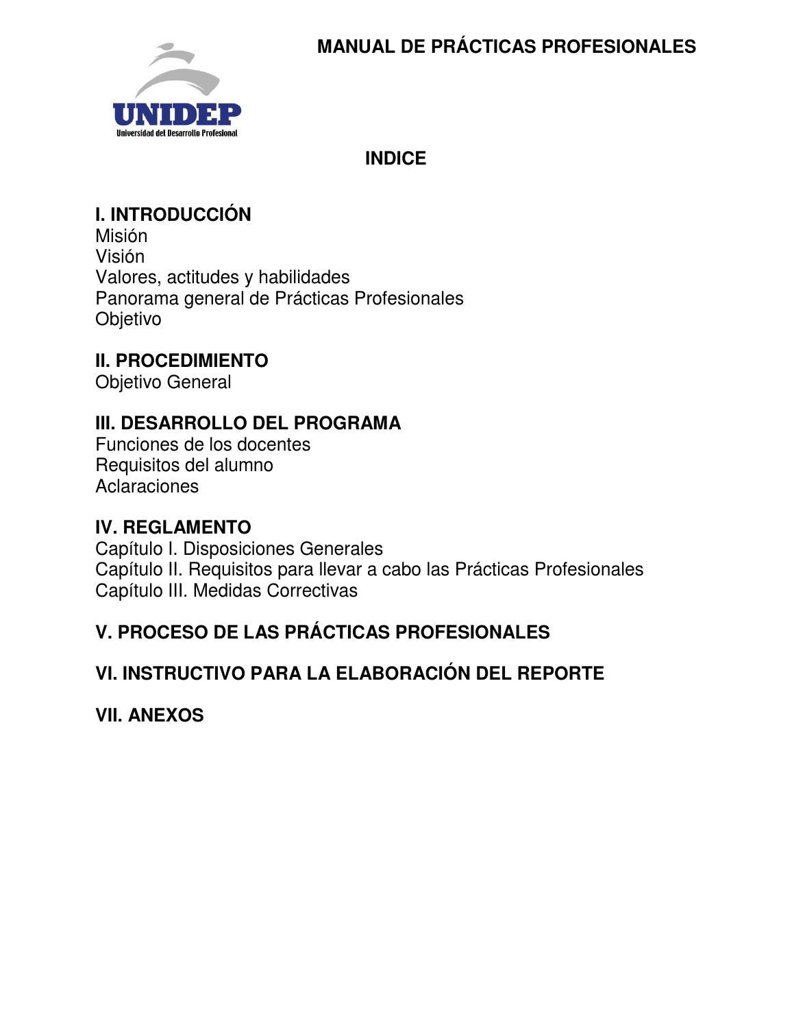 Manual de Prácticas Profesionales by Universidad del Desarrollo ...