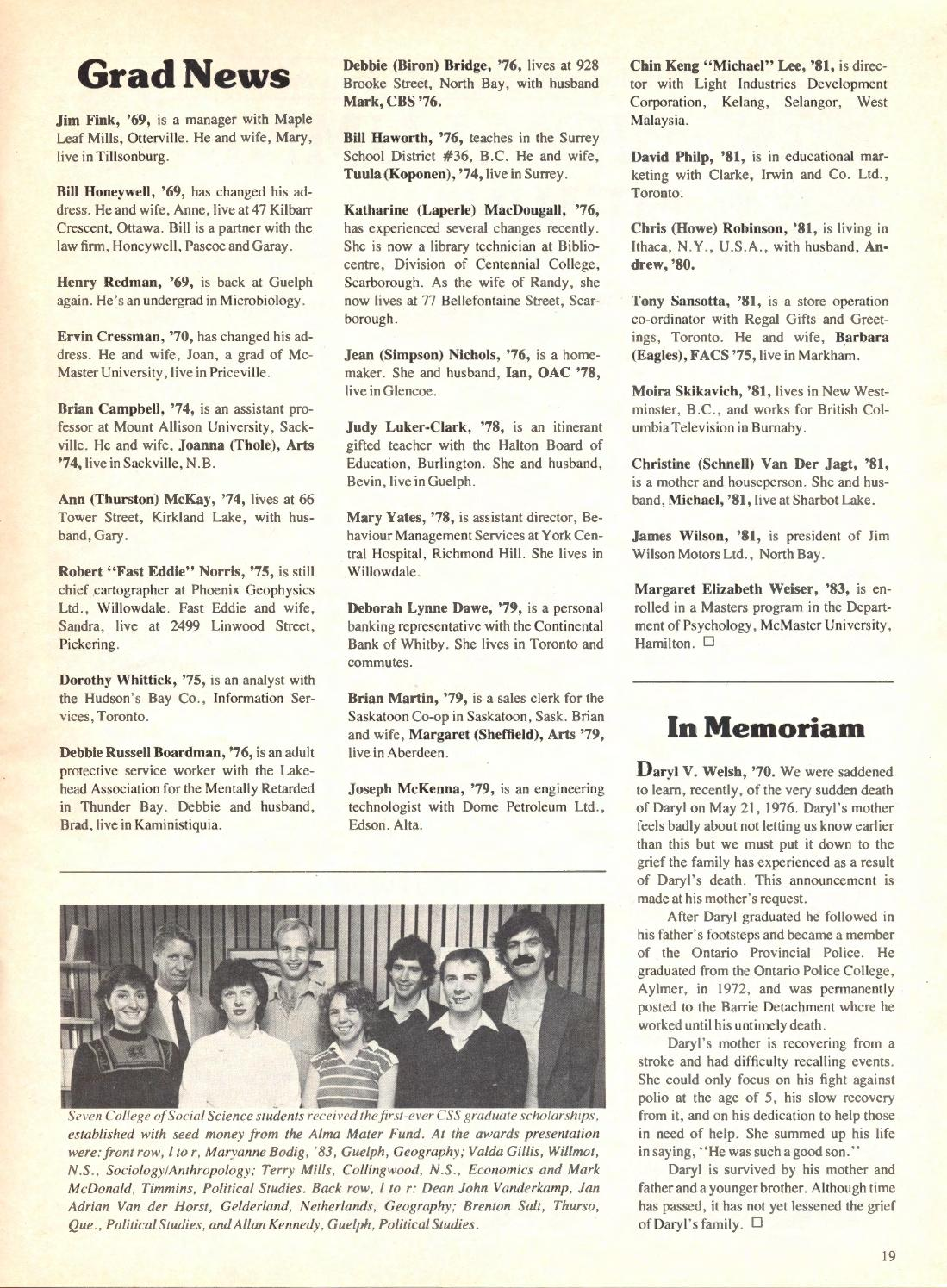 Guelph Alumnus Magazine Spring 1984 By University Of