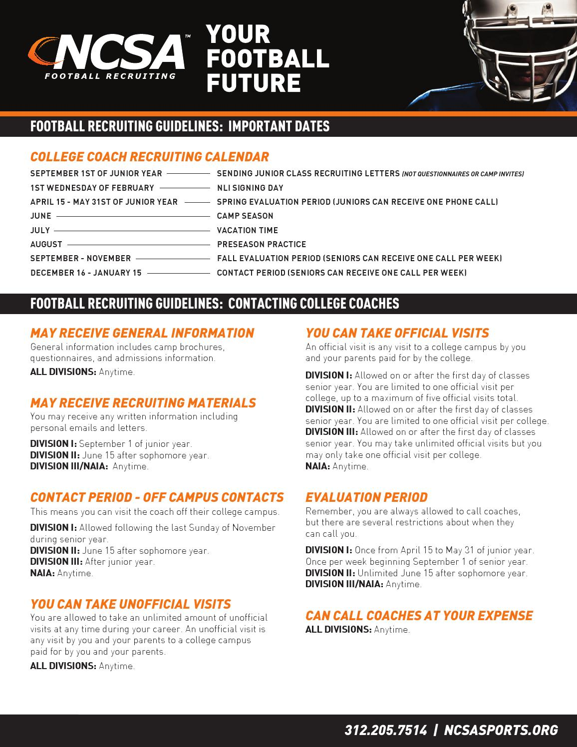 football recruiting guidelines by ncsa issuu. Black Bedroom Furniture Sets. Home Design Ideas