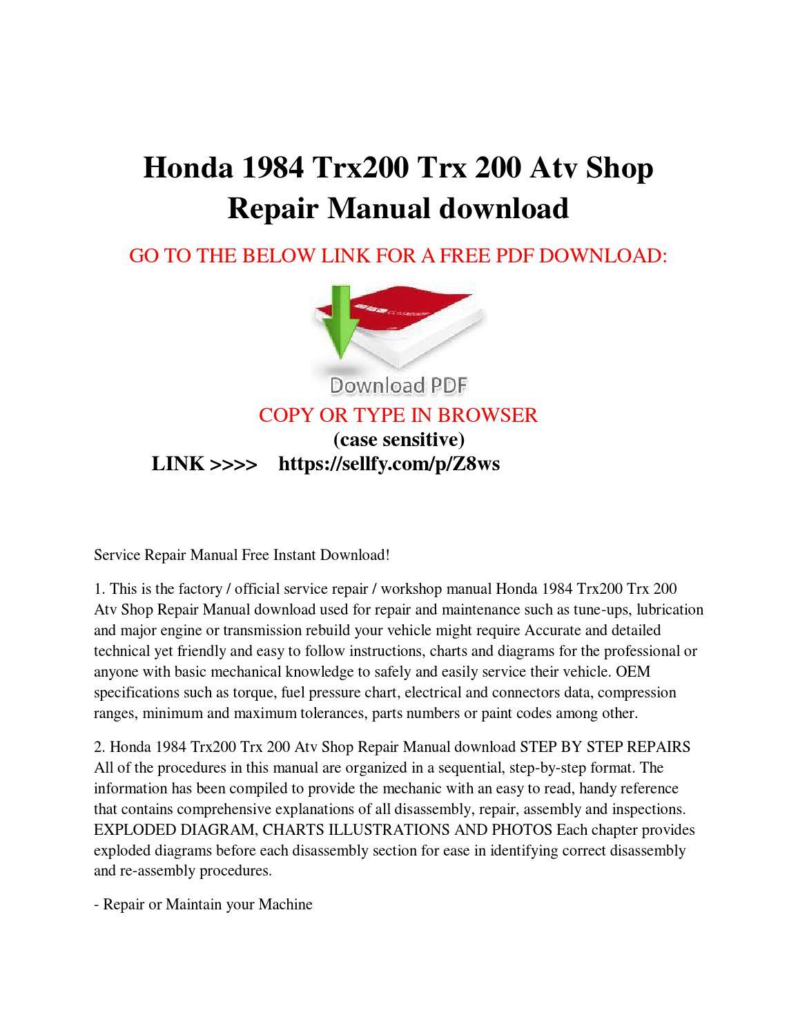 Honda 1984 Trx200 Trx 200 Atv Shop Repair Manual Free