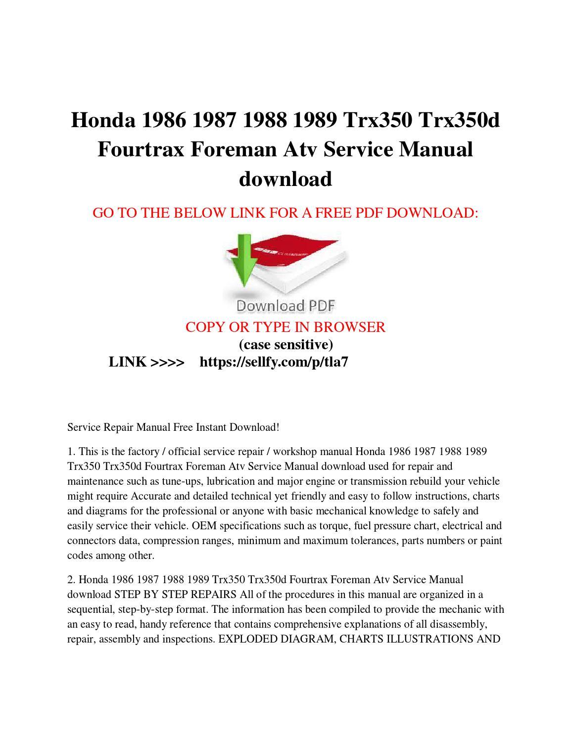 Honda 1986 1987 1988 1989 Trx350 Trx350d Fourtrax Foreman