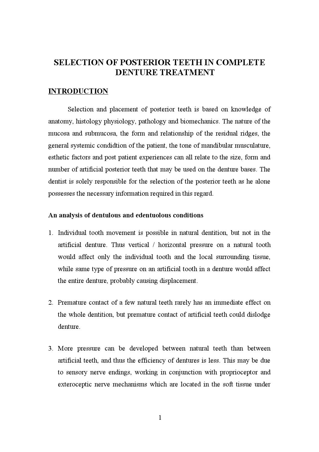 Selection of posterior teeth/ dental implant courses by Indian ...