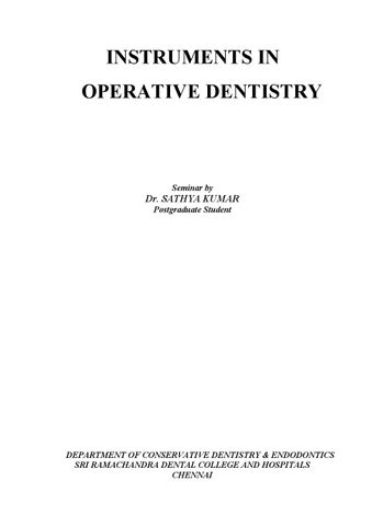 INSTRUMENTS IN OPERATIVE DENTISTRY