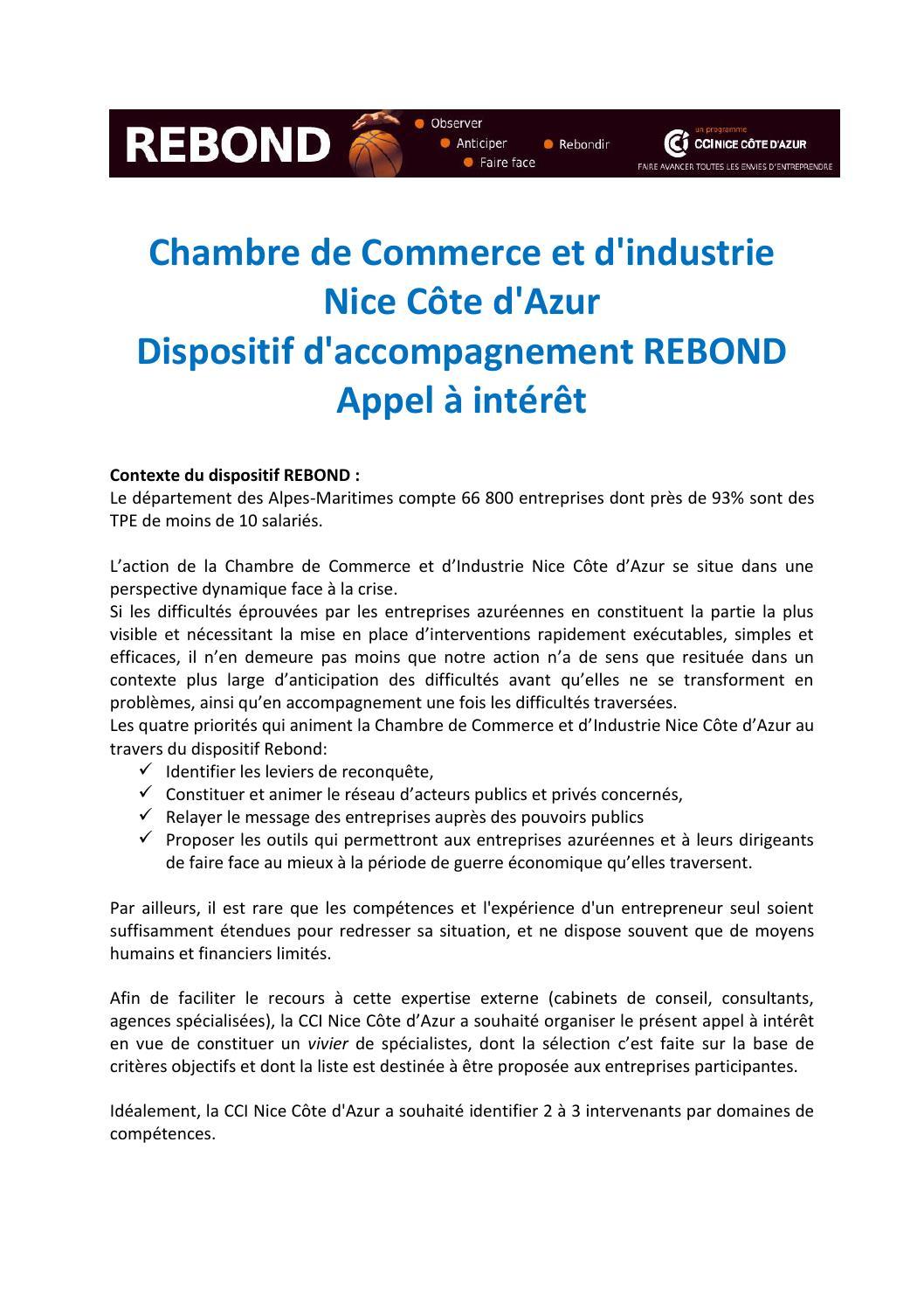 Appel interet rebond by cci nice c te d 39 azur issuu - Chambre de commerce et d industrie nice cote d azur ...