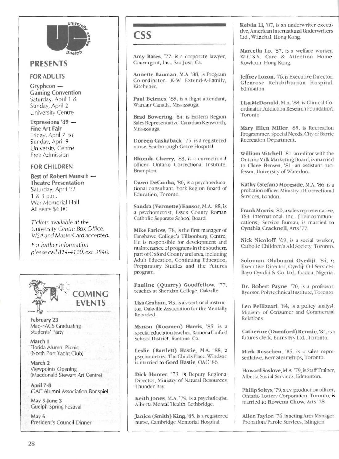 Guelph Alumnus Magazine, Winter 1989 by University of Guelph - issuu