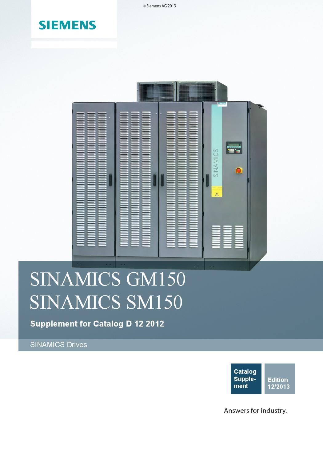 Sinamics Gm150 Sm150 Catalog D12 2012 Supplement 2013 En By Jeff E Tec 1 6l L91 Wiring Diagram Loor Issuu