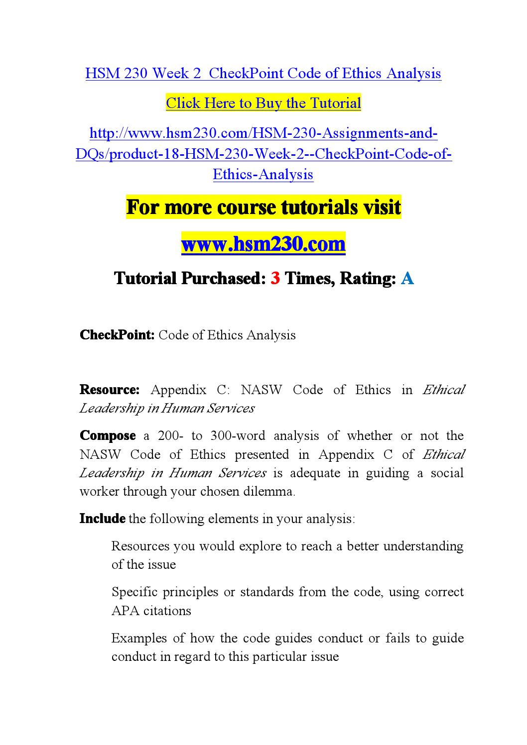 Hsm 230 week 2 checkpoint code of ethics analysis by online2014 - issuu