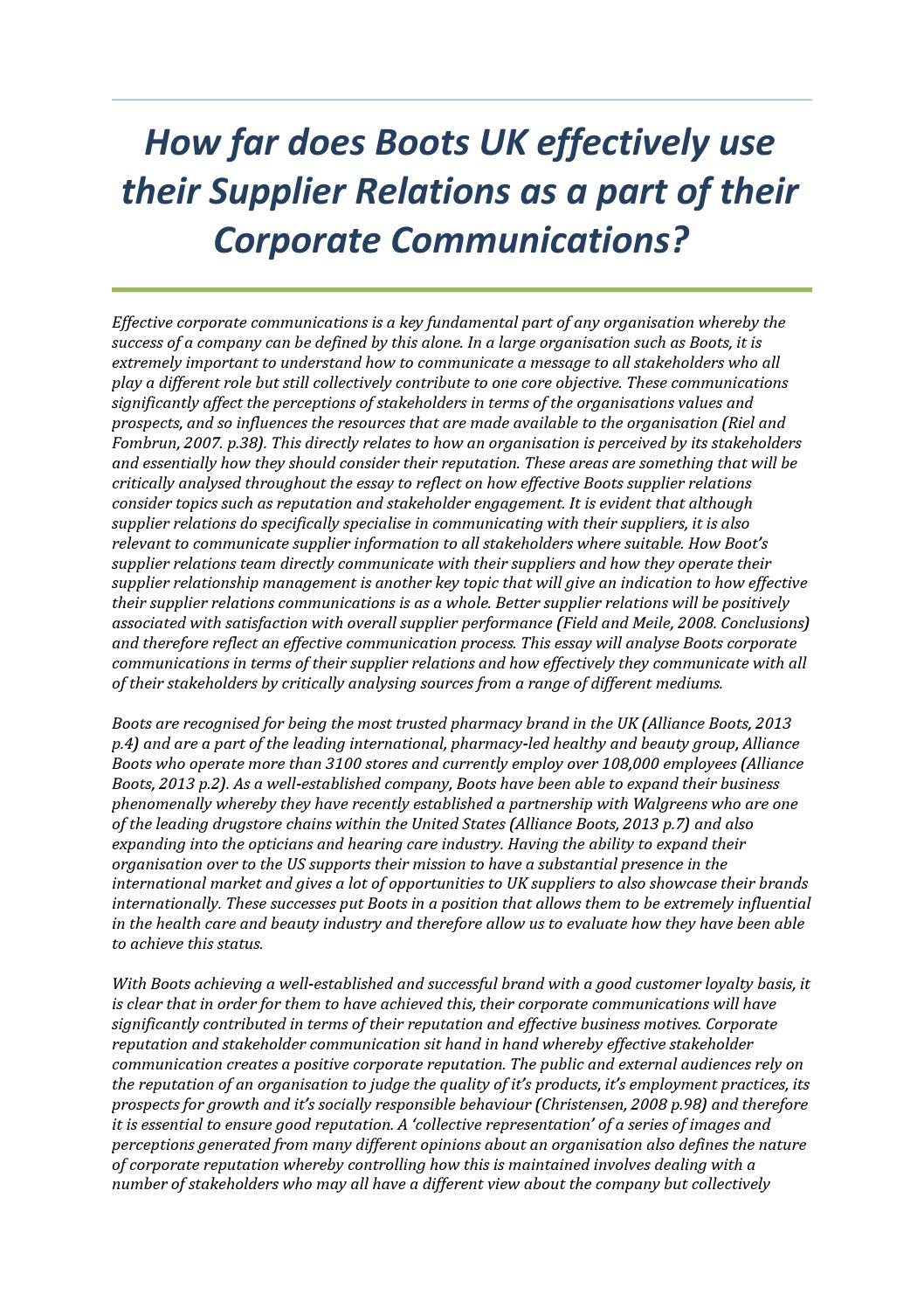corporate communication essay Using the right csr communication strategy 1 management  summary corporate social responsibility (csr) is an useful tool for companies  to.