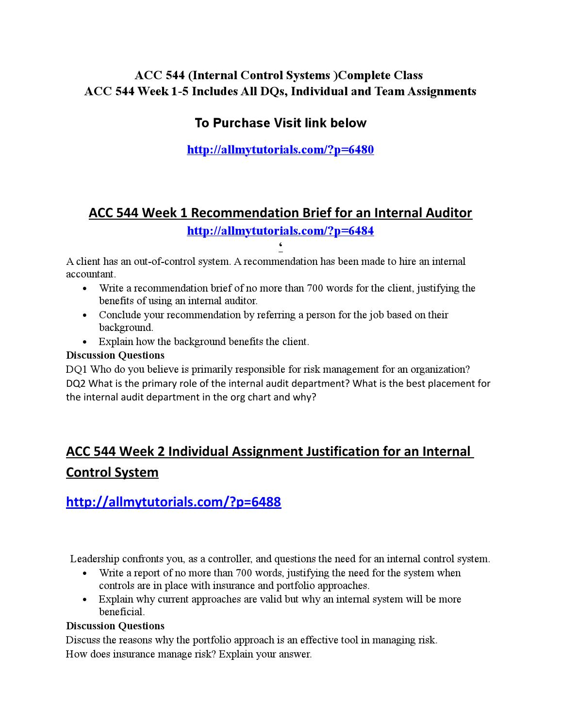 acc 544 internal accountant brief Get complete a+ tutorial here   in this file you will find  acc 544 week 1 recommendation brief for an internal auditor.
