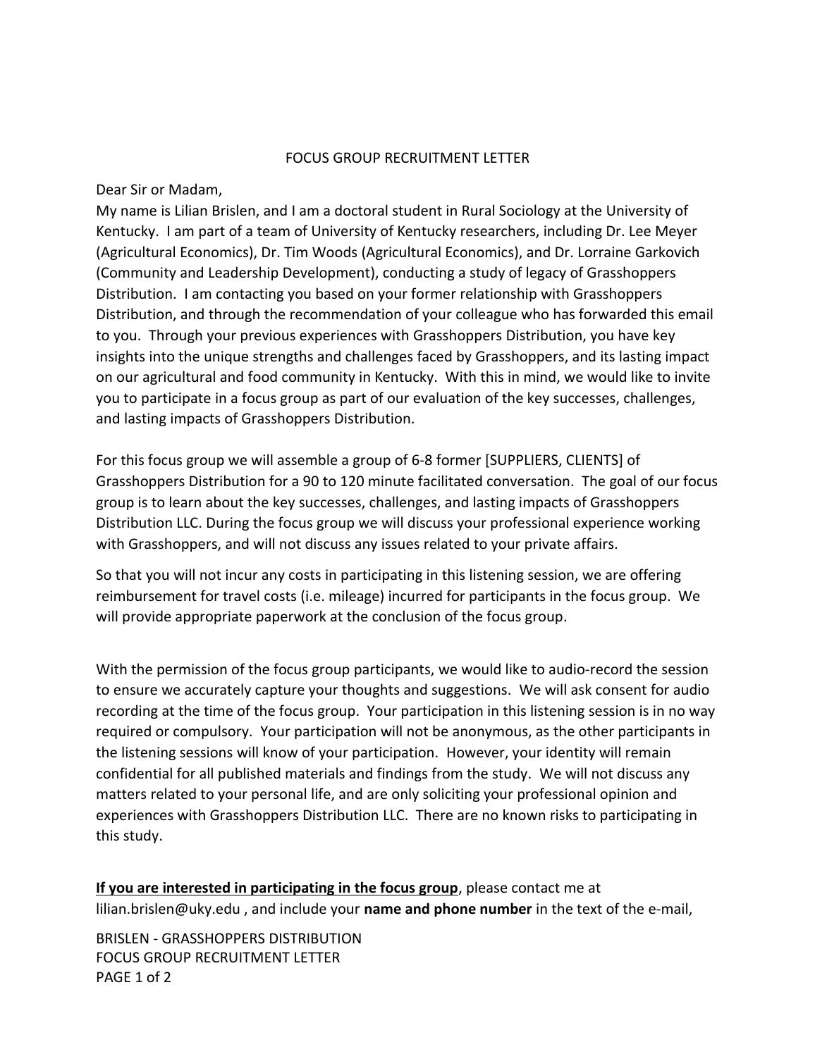 Focus group recruitment letter by Community Farm Alliance