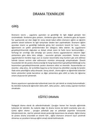 Drama Teknikleri By Omarea Issuu