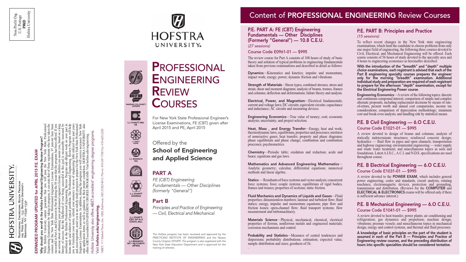 Professional Engineering Review Courses by Hofstra