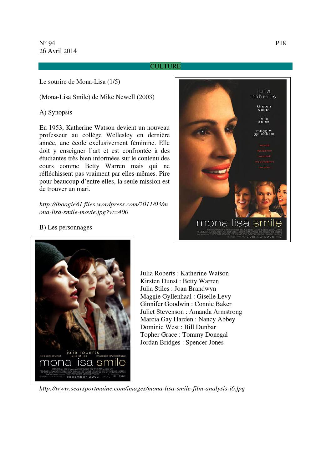 analysis of mona lisa smile People invited to a presentation do not need a prezi account  revised: feminist theology themes in the movie mona lisa smile.