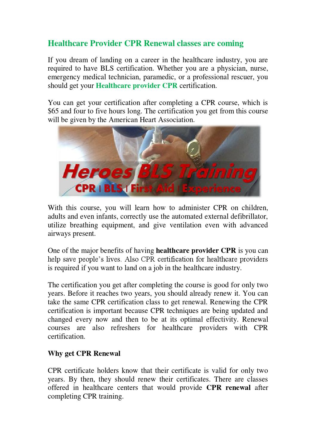 Healthcare Provider Cpr Renewal Classes Are Coming By Thomas