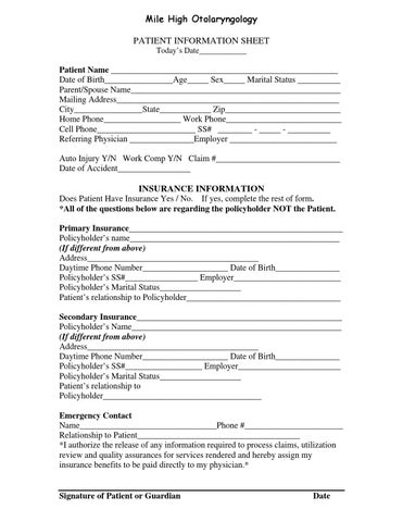 Mile High Otolaryngology New Patient Information Form By Kaylea Robertson Issuu
