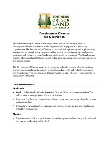 Development Director Job Description  By Southern Oregon Land