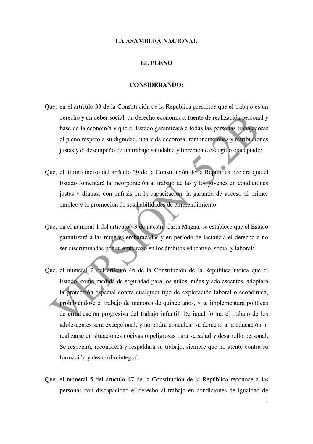 Proyecto de código órganico del trabajo by ZIOGAS AVP - issuu