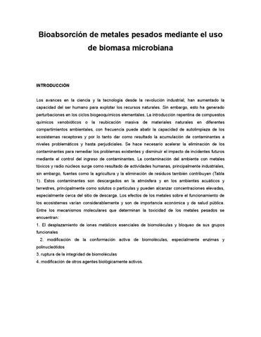 Bioabsorcin de metales pesados mediante el uso de biomasa page 1 urtaz Gallery