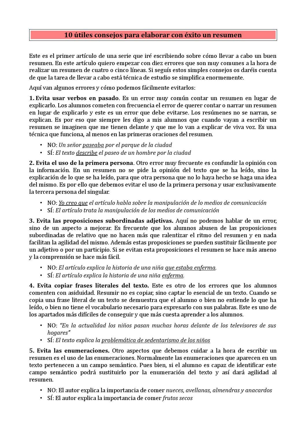 Consejos para el resumen(1) by Martagil - issuu