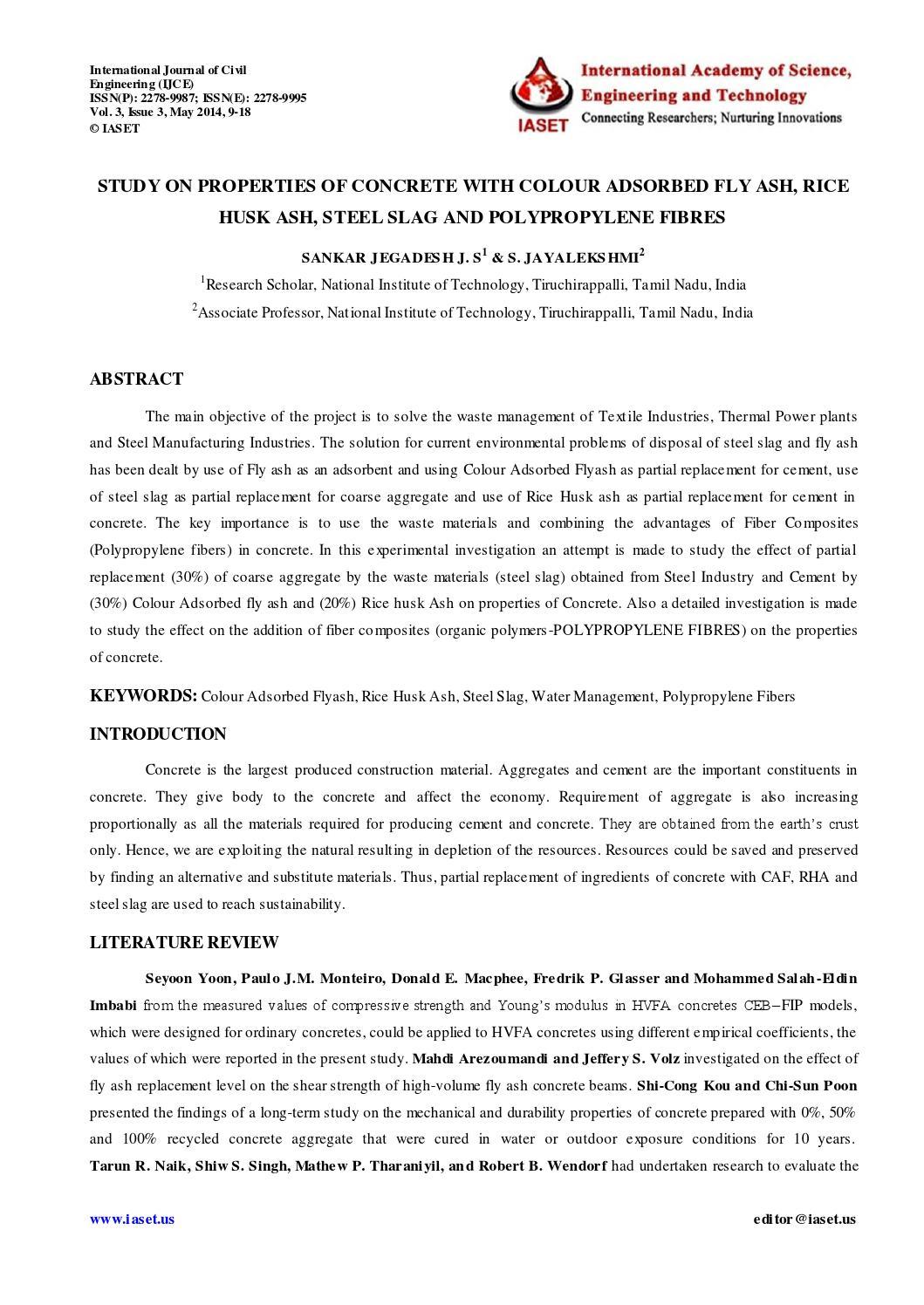 2 civil ijce study on properties of sankar jegadesh by IASET