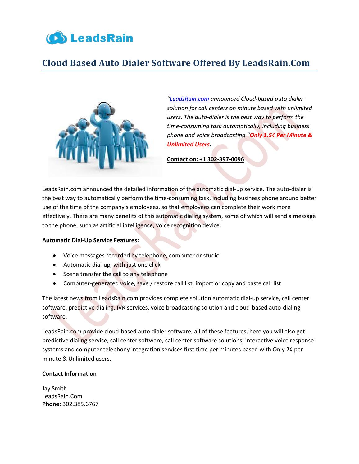 Cloud Based Auto Dialer Software Offered By LeadsRain Com by