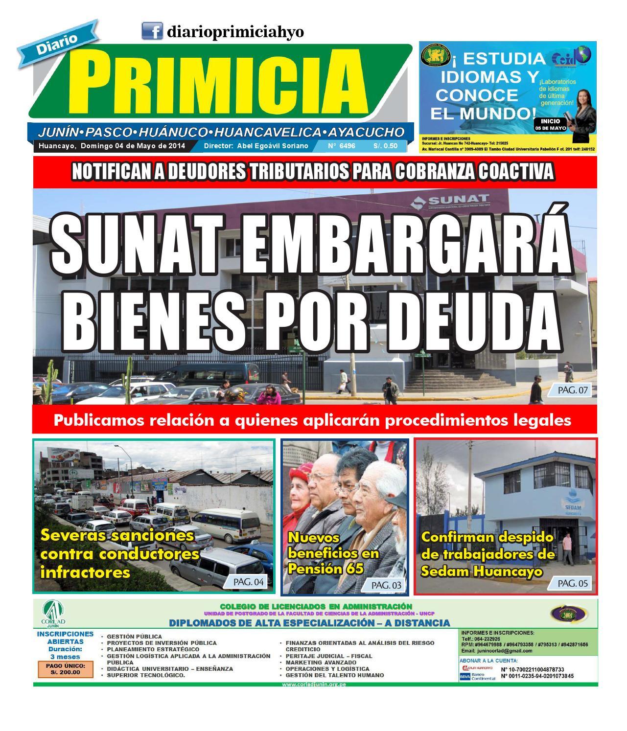 diario primicia huancayo 04 05 14 by diario primicia issuu