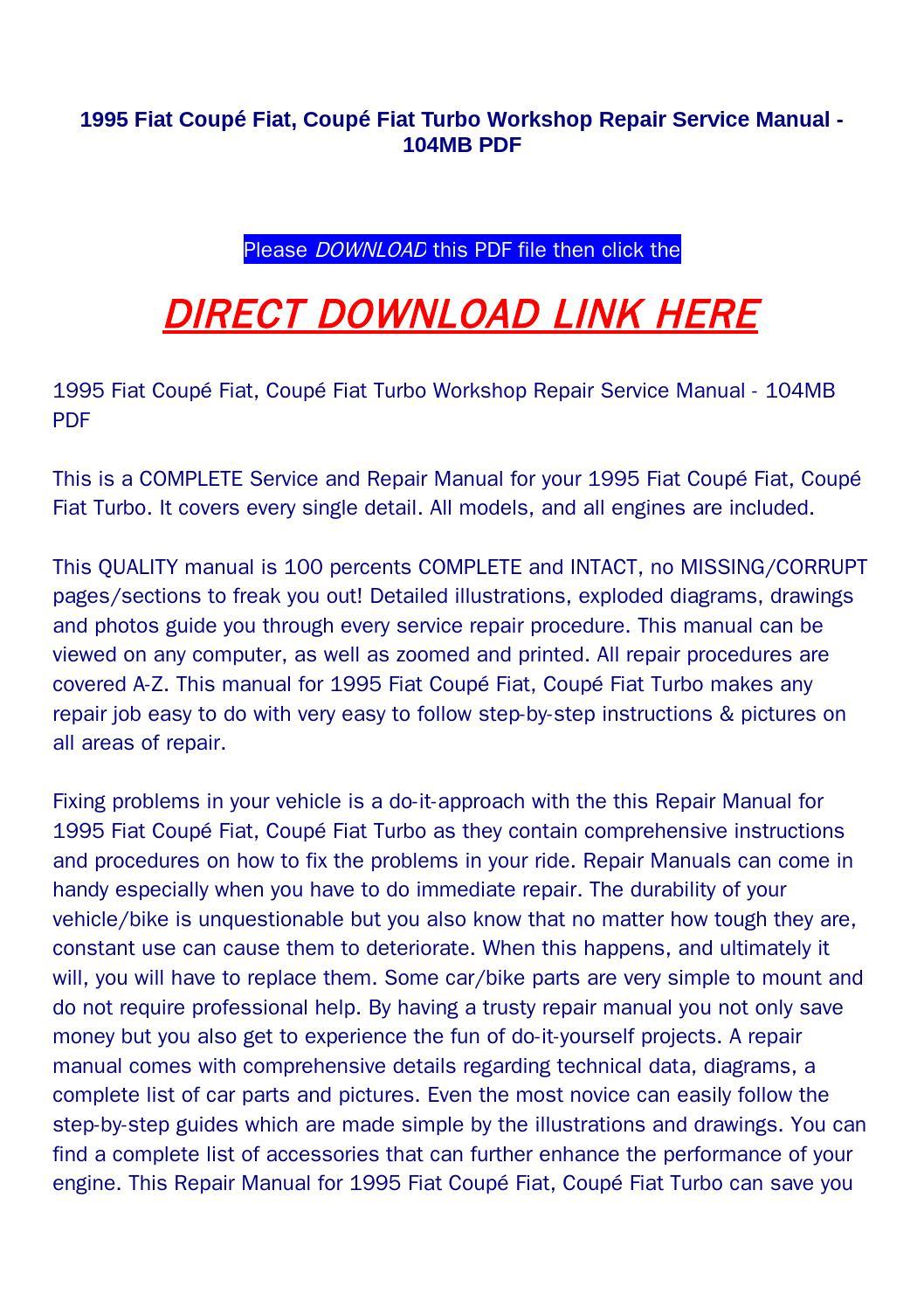 1995 fiat coupé fiat, coupé fiat turbo workshop repair service manual 104mb  pdf by poui - issuu