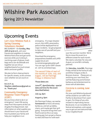 Wpa newsletter spring13 bh by Wilshire Park - issuu