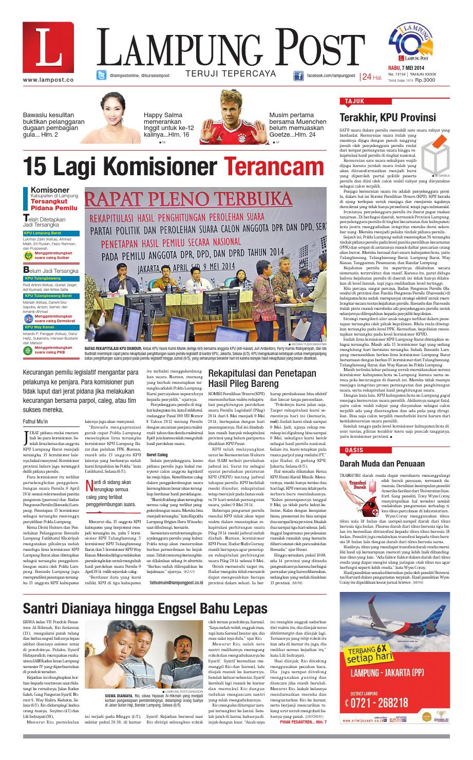 lampung post rabu, 7 mei 2014 by lampung post issuulampung post rabu, 7 mei 2014 by lampung post issuu
