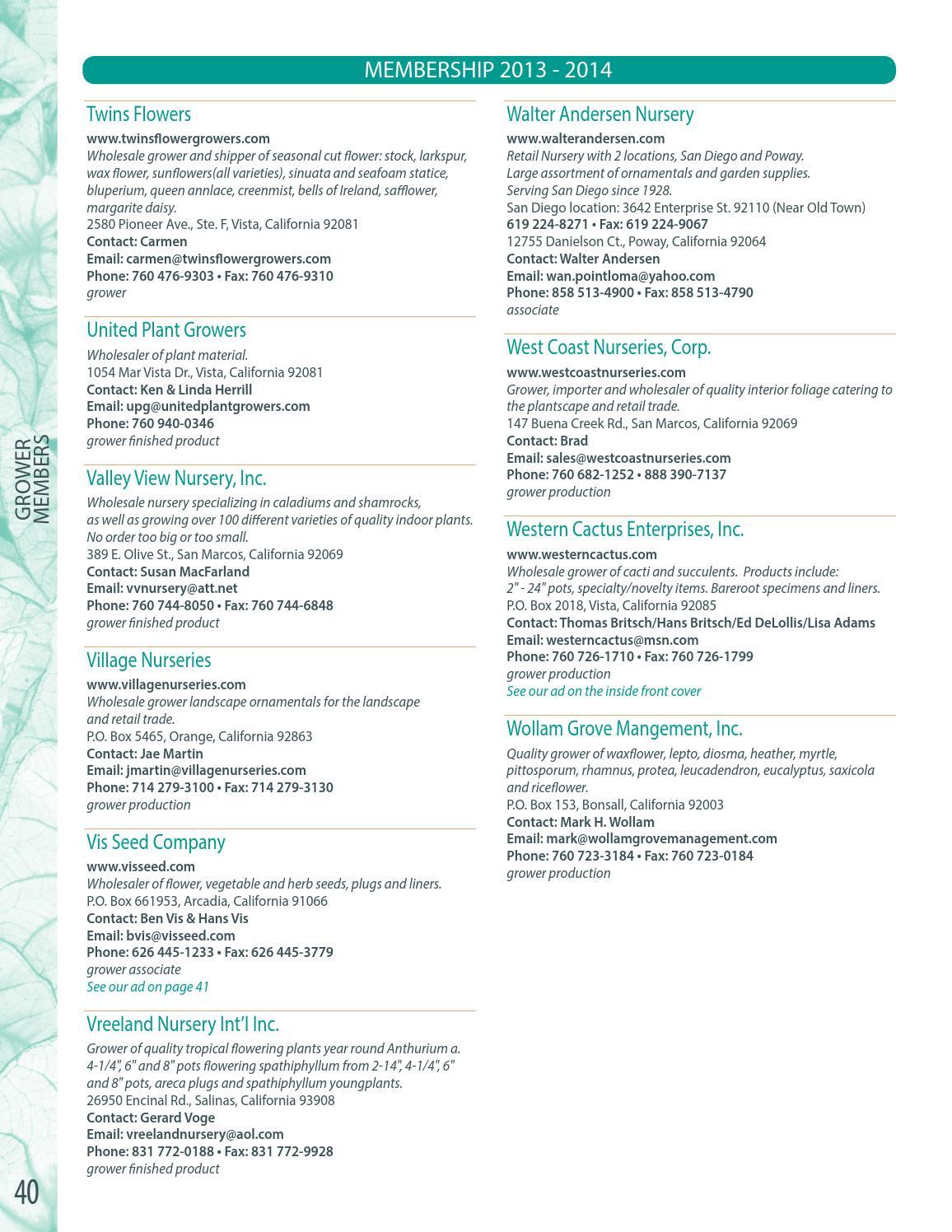 San Diego County Flower & Plant Membership Directory