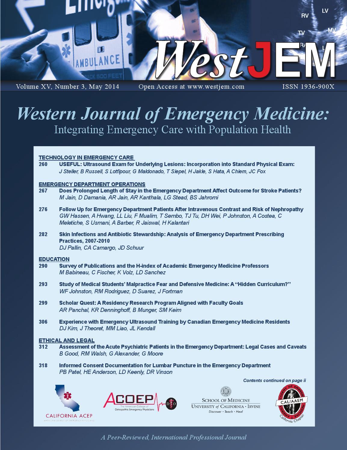 Volume 15, Issue 3 by Western Journal of Emergency Medicine