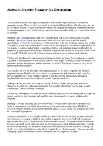 Assistant Property Manager Job Description by
