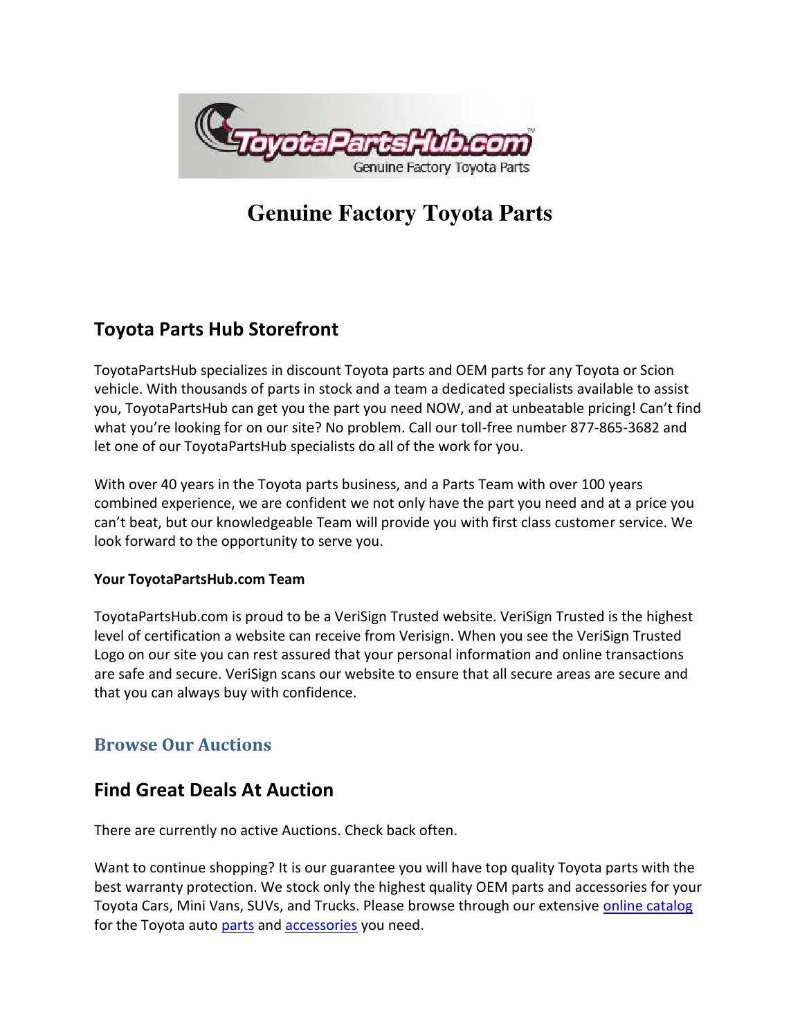 Toyota Parts Online >> Genuine Factory Toyota Parts By Toyota Partshub Issuu