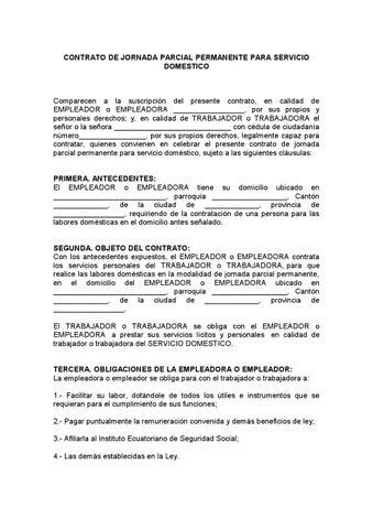 Contrato De Jornada Parcial Permanente Para Servicio