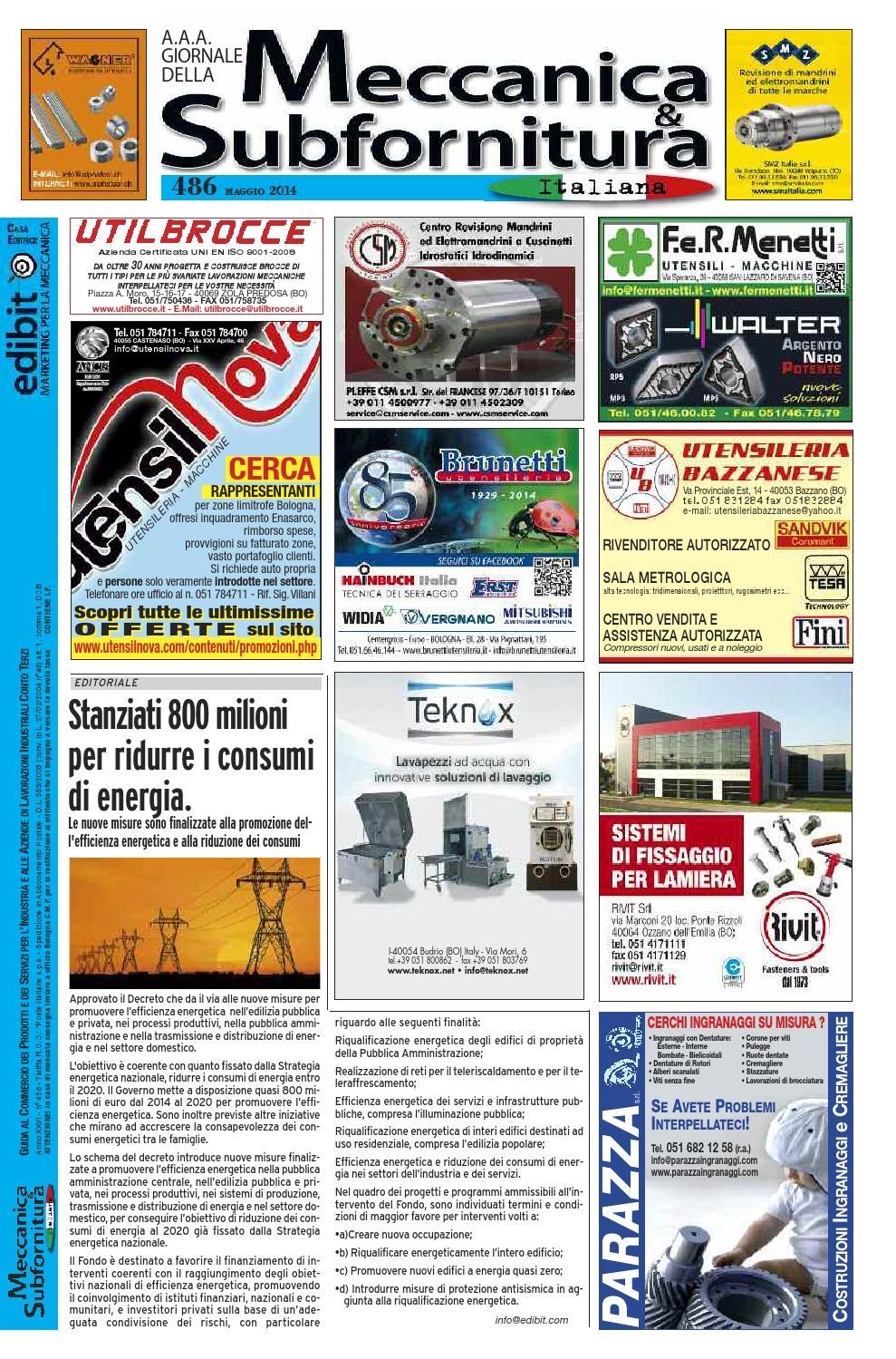 Meccanica & Subfornitura Maggio 2014 N° 486 By Edibit Bologna Issuu