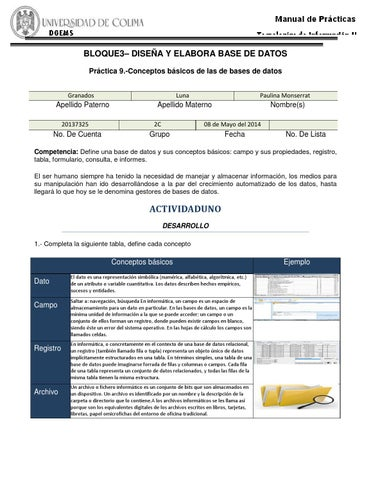 Bloque3 practica 9 by paulina monserrat granados luna for Practica de oficina concepto