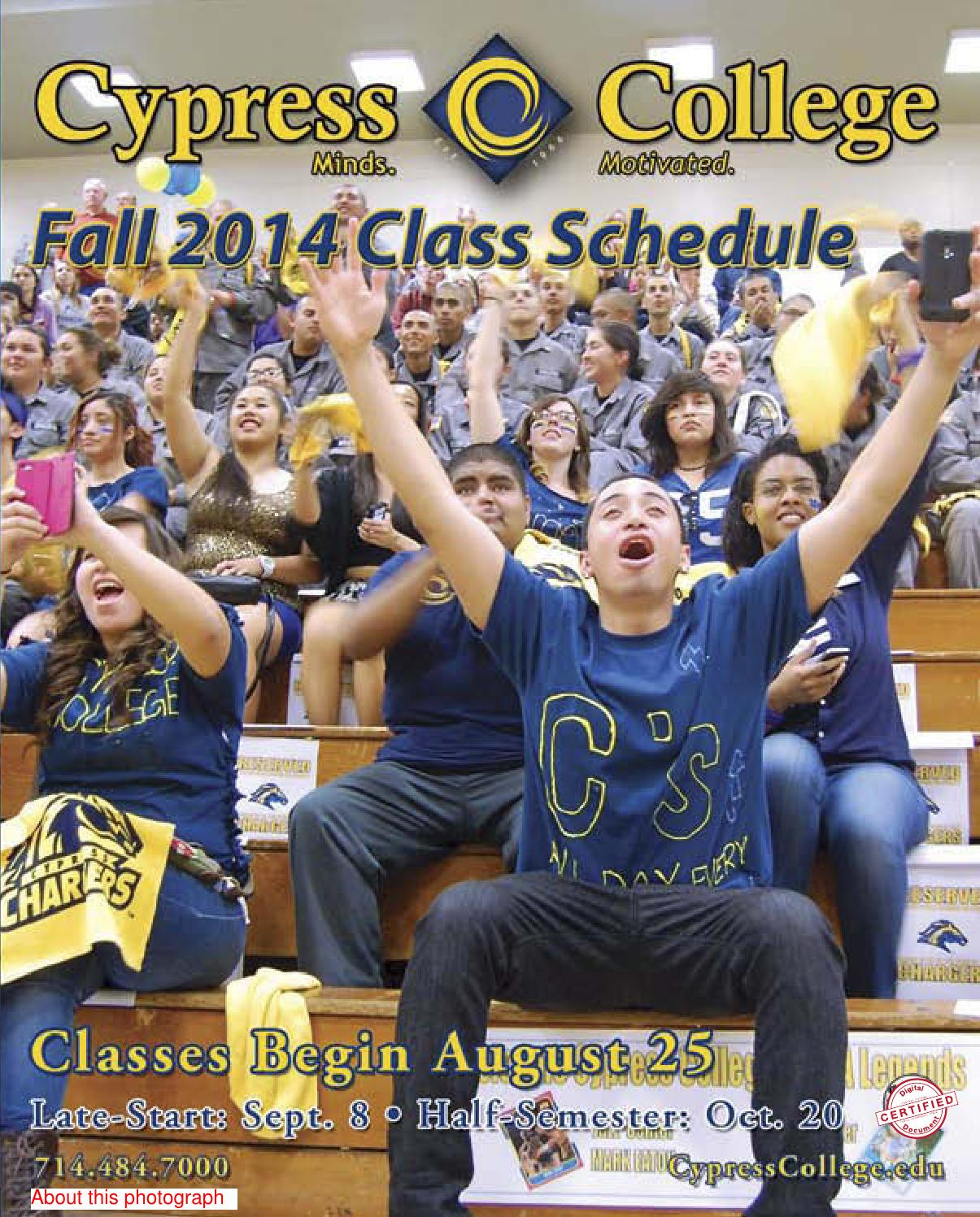 Cypress College Fall 2014 Class Schedule by Cypress College
