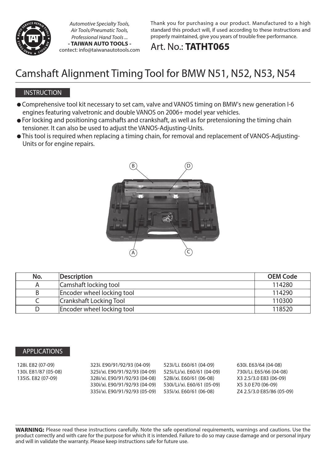 Tatht065 Instruction Manual By Taiwan Auto Tools Issuu Bmw 325i Timing Chain