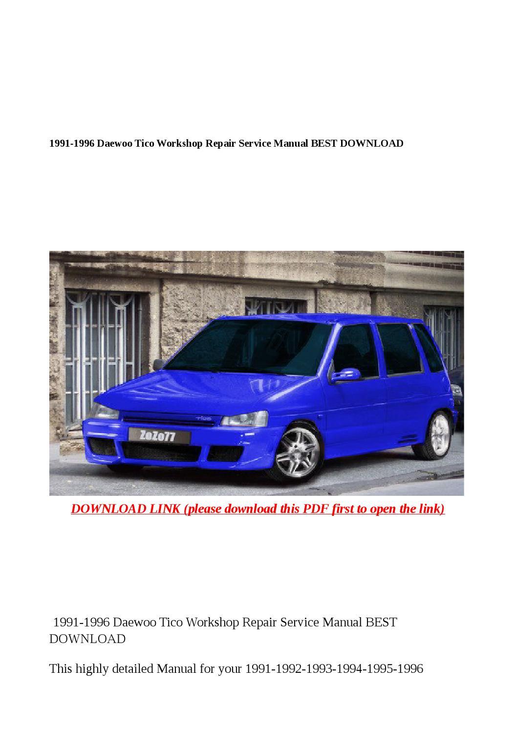 1991 1996 daewoo tico workshop repair service manual best download by steve  - issuu