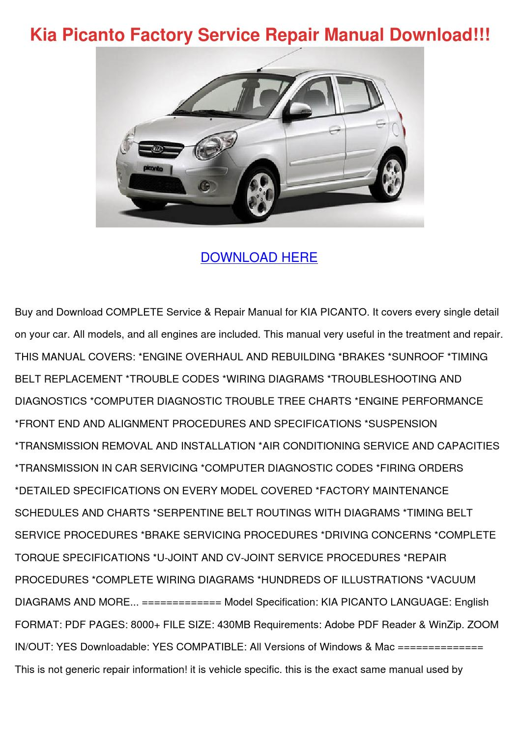 Kia picanto factory service repair manual download by Marek Paszkiewicz -  issuu